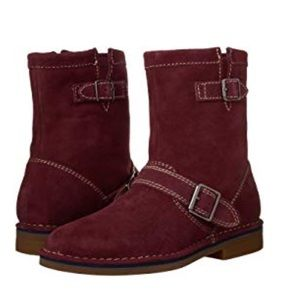 NEW Hush Puppies Wine Suede Motorcycle Boots NIB!